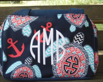 Monogrammed Navy Turtle Lunch Bag-Personalized Gift-Monogram Lunch Bag-Personalized Lunch Bag