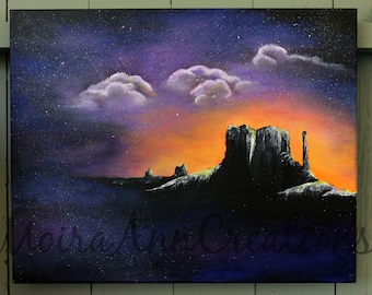 Monument Valley Nightscape  Acrylic Painting 16x20