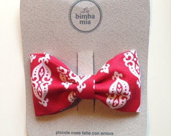 Red and white fabric bow hair clip, Clip/medium Fabric Hair Bow Red and White, Medium