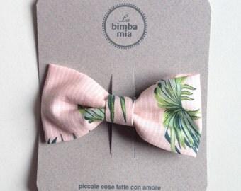 Tropical fantasy Pink fabric bow hair clip, Middle/Clip Fabric Hair Bow Tropical Pink Fantasy, Medium