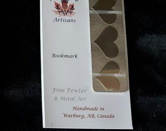 "Handmade pewter hearts bookmark ""Heartset"""