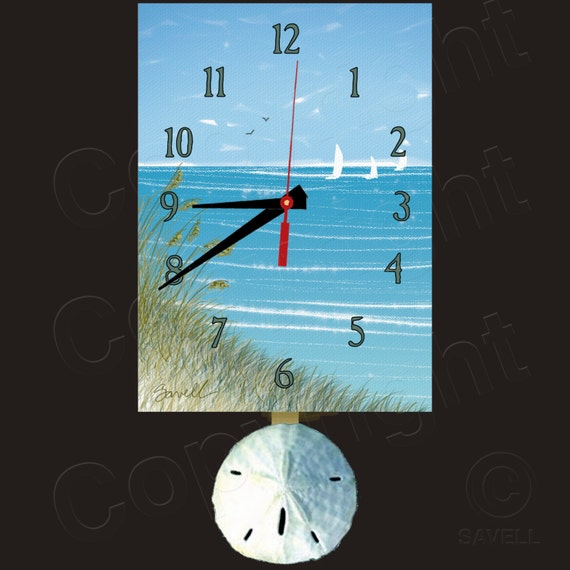 SeaOats Clock with Swinging Sanddollar Pendulum • Beach Clock