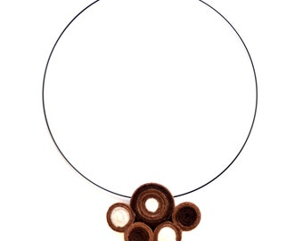 Choker necklace handmade felt brown and white spirals
