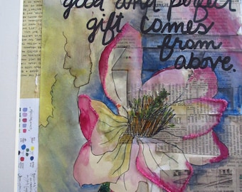Mixed Media Painting/Drawing- Every Good & Perfect Gift Comes From Above