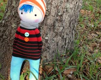 Teen boy with blue hair sock doll
