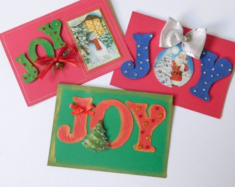 3 Pieces Handmade Christmas Card Set