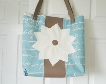 Teal Taupe Off White Faux Leather Handbag, Large Handbag, Work Bag, Travel Bag, Diaper Bag, Laptop Bag, Faux Leather Flower, Gift Idea