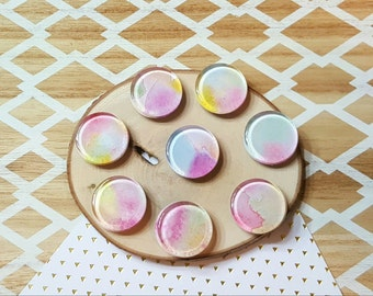 Watercolor Glass Cabochon Magnets / 1 inch Magnets / Fridge Magnets / Boho Magnets / Blue, Purple, Pink, Yellow -  Set of 8