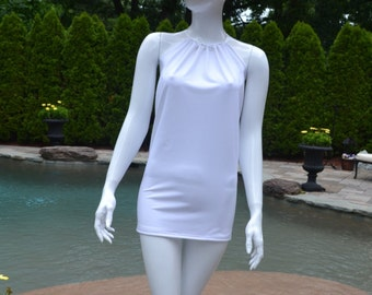 White swimsuit cover up. Swim dress can be worn in and out of the water.