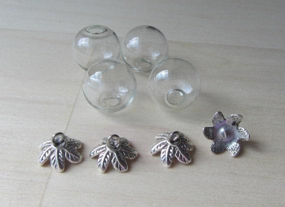 SET Glass Globe Balls & Leaf Loop Caps Hollow Vial Pendants