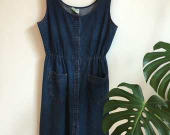 1970s Denim Dress - Size Large