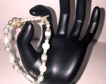 Pearl Glass Bracelet with Studded Key Charm