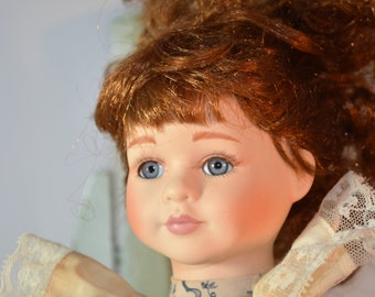 Geppeddo, Porcelain Doll, Unruly Red Hair, Red Head, Collectible, Doll,