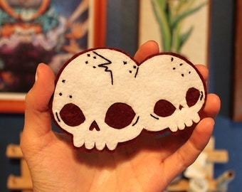 Handsewn Conjoined Skulls Patch