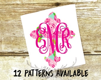 Lilly Pulitzer Monogram Cross Decal, Lilly Decal, Christian Decal, YETI Decal, Laptop, Yeti, Car Decal, Macbook Decal, Tumbler Decal, Vinyl