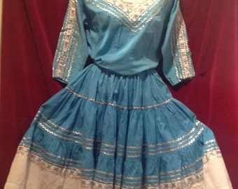 1950s Mexican Dress - Blue, White, Red and Sliver / Long sleeve Patio Squaw  Dress/  Cow Girl / Western.