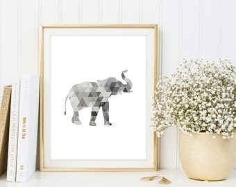 Geometric elephant printable poster, elephant wall art, elephant nursery decor, triangle print, elephant poster, geometric animal print