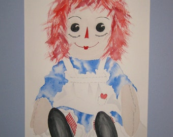 16x20 Watercolor Raggedy Ann, Original, matted, included