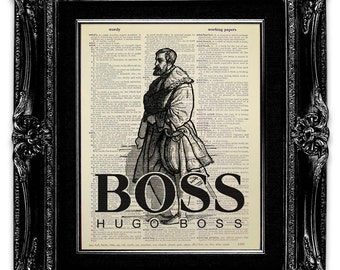 Victorian Hugo Boss - Best BOSS GIFT, Funny Gift for Boss, Funny OFFICE Decor, Home Office Decor, Fashion Wall Art, Fashion Poster Art Gift
