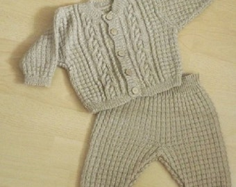 Baby set, Jacket with pants, Hand knitted and created for you by Francien Creations