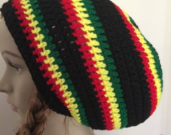 colorful crochet hat, crochet large tam, crochet rasta hat, crochet Jamaican hat