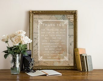 "Vintage Travel ""Thank You"" Wedding Sign, Printable, Instant Download!"