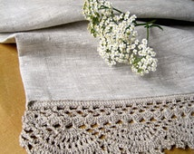 Linen table runner Rustic home decor Long table runner Grey runner Linen tablecloth Table linens wedding Crochet doily Linen table scarf