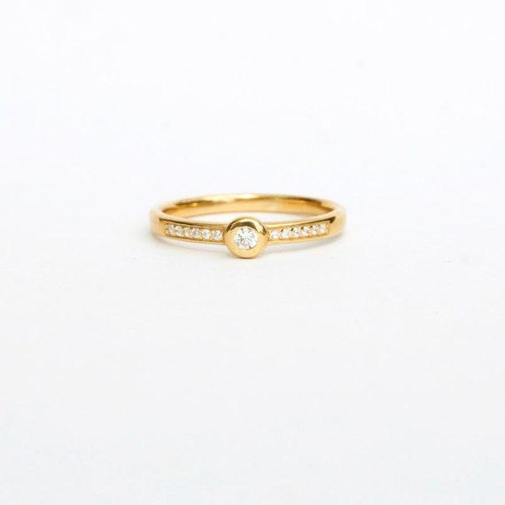 gold cz ring tiny ring thin gold ring ring tiny