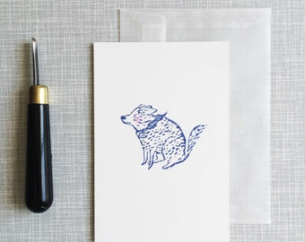"""Greeting card A6 handprinted linocut """"blowing in the wind"""""""