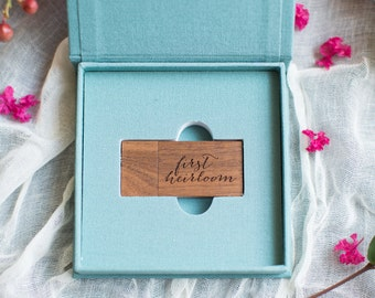 TEAL Linen USB box