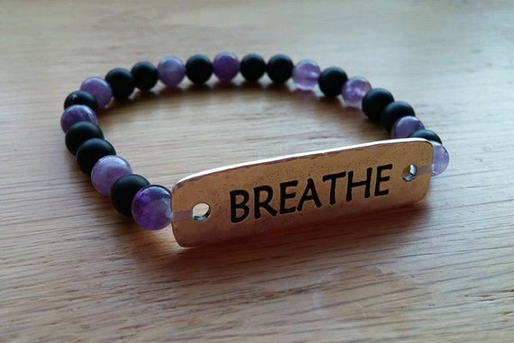 Breathe Bracelet. Matte Black Onyx and Amethyst on stretchy string. CF Awareness Bracelet.