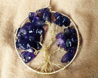 Tree of Life Wire Pendant, Amethyst Crystal Stones, Gold and Silver Wire
