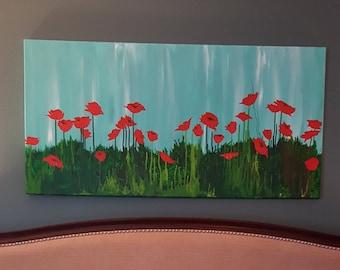 Poppy Morning, acrylic and wax on canvas