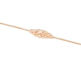 Bridal Rose Gold Bracelet, Wedding Bracelet, Bridesmaid Gold Bracelet, Bride Dainty Bracelet, Bridesmaid Gift, Bridal Accessory, Bridal Gift
