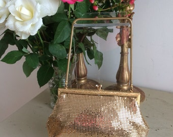Vintage 50s Bag Purse Gilt Chainmail Crystals Stunning Retro Fashionista Race Day Wedding Bombshell Pinup