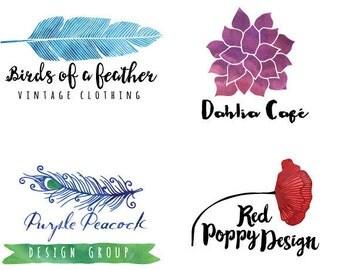 Custom Logo Design - Professional Graphic Design for Small Business, Etsy Store Logo, Watercolor Logo, Feminine