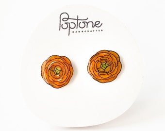 Ranunculus Flower earrings, orange floral studs, flower stud earrings