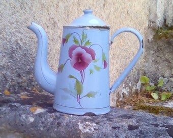 French enamelware coffee pot. Pale blue with pansy stencils