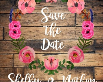 Rustic Floral Wreath Save the Date Printed Invites