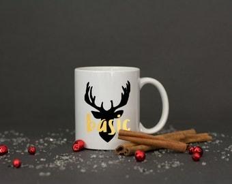 basic deer mug // deer head // winter mug // christmas mug gift // stocking stuffer // secret santa gift // christmas gift for friend