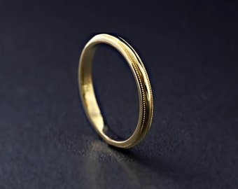 9ct/14ct/18ct Yellow Gold Milgrain Edge Wedding Band 2 mm width D Shape half round wedding ring, Made to order