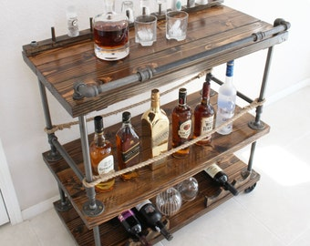 Rustic Bar Cart - Industrial Pipe & Wood bar / Unique bars / whiskey bar / wine cart / kitchen island / rollaway bar / rustic furniture