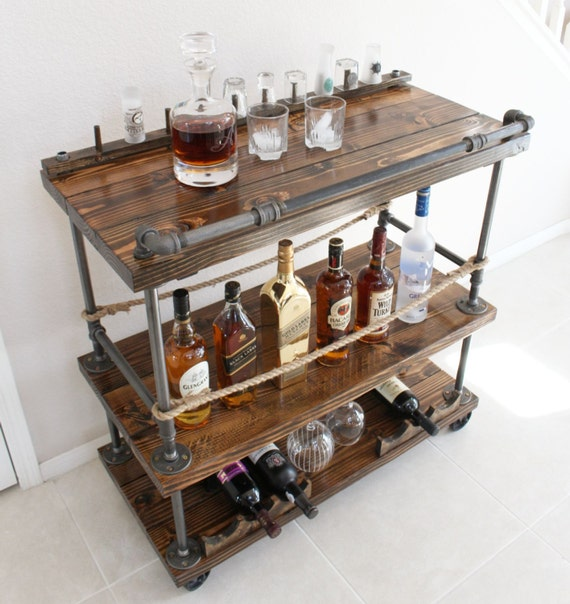 Modern Rustic Industrial Country Portable Kitchen Cart: Rustic Bar Cart Industrial Pipe & Wood Bar / Unique Bars