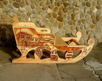 Wooden sleigh Wooden sled Handcrafted and hand painted sleigh Children sled