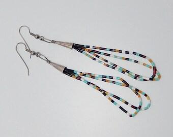Sterling Heshi Bead Tassel Earrings. Very Long Native American Tassel Earrings. Shoulder Dusters