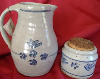 Nicholas Mosse Pottery   Blue Birds and Flowers    Spongeware   Ireland    Vintage   Early   Pitcher