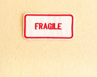 Fragile Patch - Iron on patch -Sew On patch - Embroidered Patch (Size 7.8cm x 4cm)