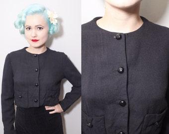 Vintage 1960's Black Linen Bolero | Shrug | Short Cropped Jacket