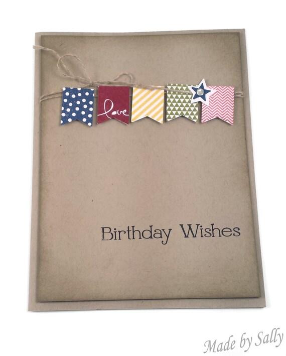Love Banner Birthday Wishes Card Handmade