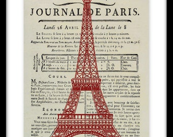 Vintage Paris Art Print, Eiffel Tower, Vintage Paris Newspaper Art